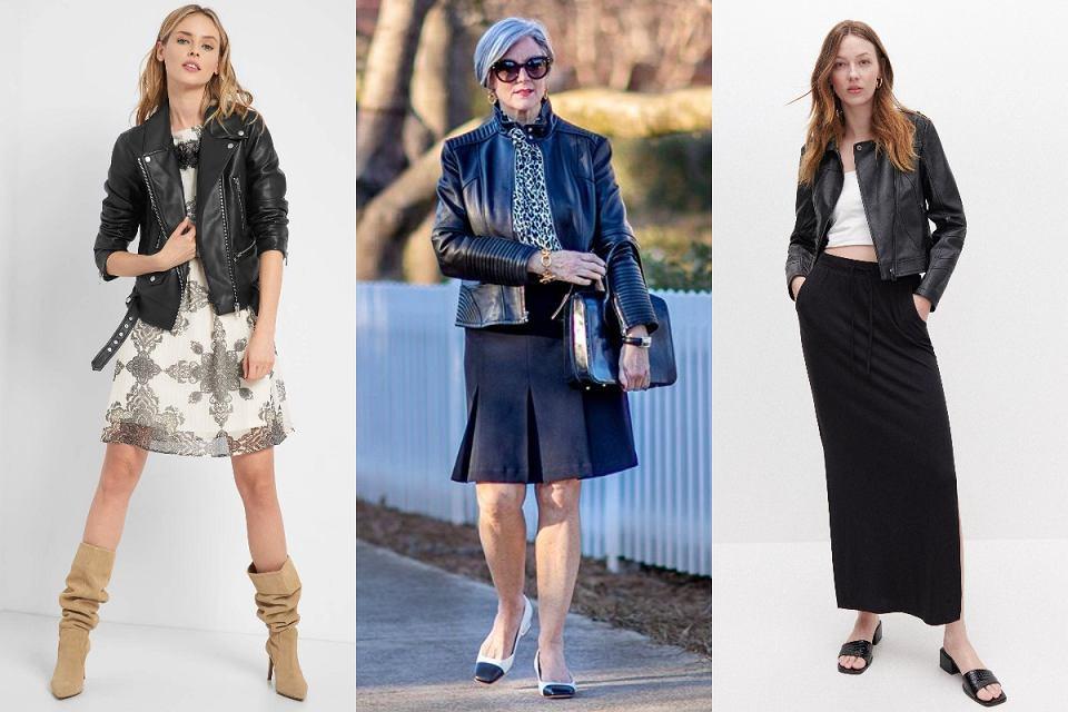 Czarna kurtka skórzana dla kobiet po 50-tce