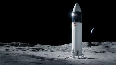 Statek kosmiczny Starship na Księżycu - wizualizacja