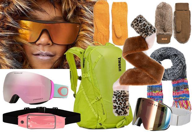 Różowe gogle - Oakley, pasek i brązowe gogle - 4F, plecak Thule, rękawiczki Answear, szalik futrzany Parfoix, szalik szary Bonprix, okulary pomarańczowe Zara