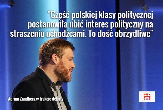Adrian Zandberg podczas debaty
