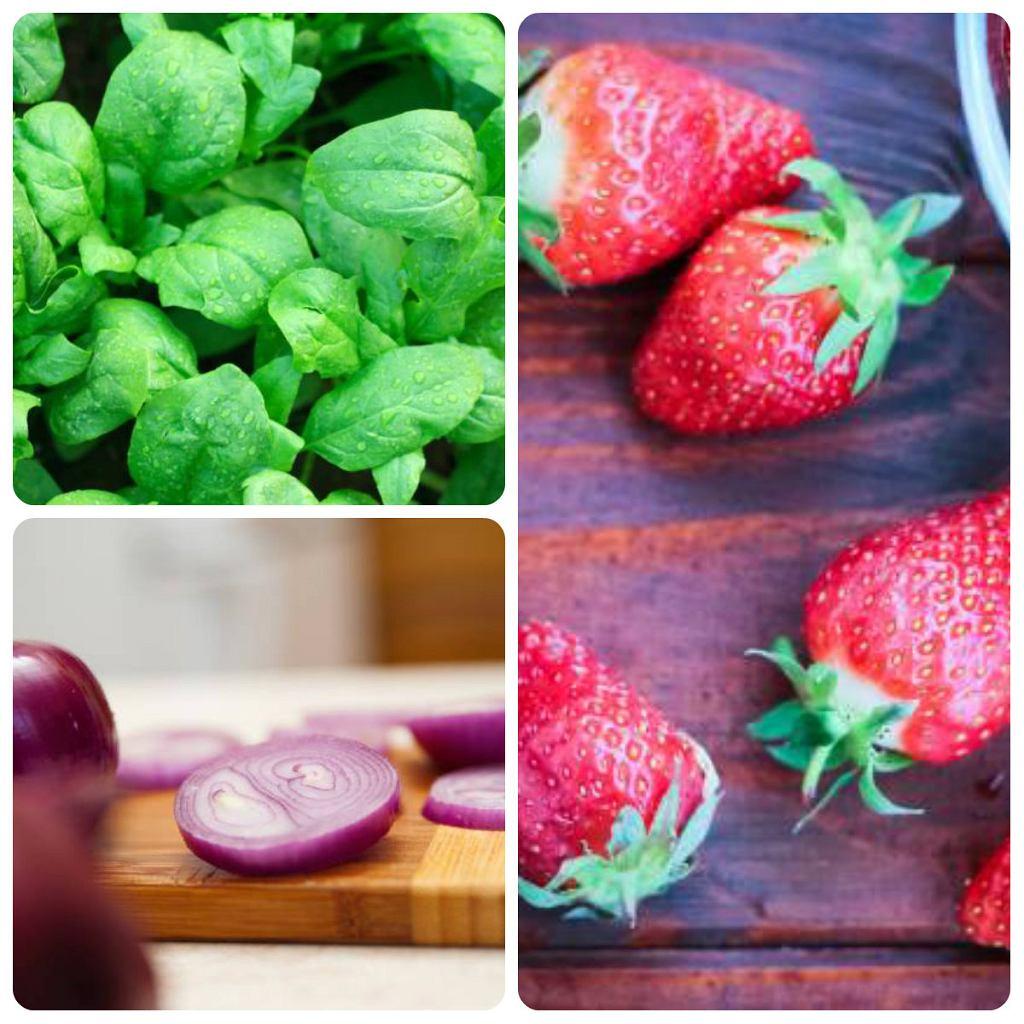 Bogatym źródłem kwercetyny są m.in. truskawki, cebula oraz szpinak