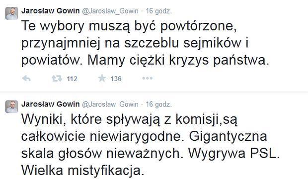 Jarosław Gowin chce powtórzenia wyborów samorządowych