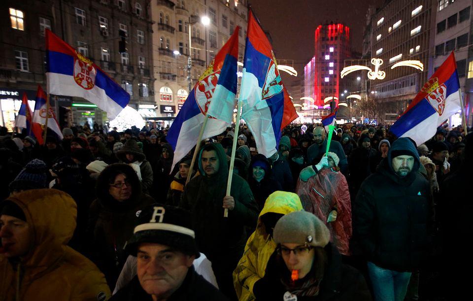 5.01.2019, Belgrad, kolejny dzień masowych protestów przeciwko prezydentowi Serbii Aleksandrowi Vuciciowi.