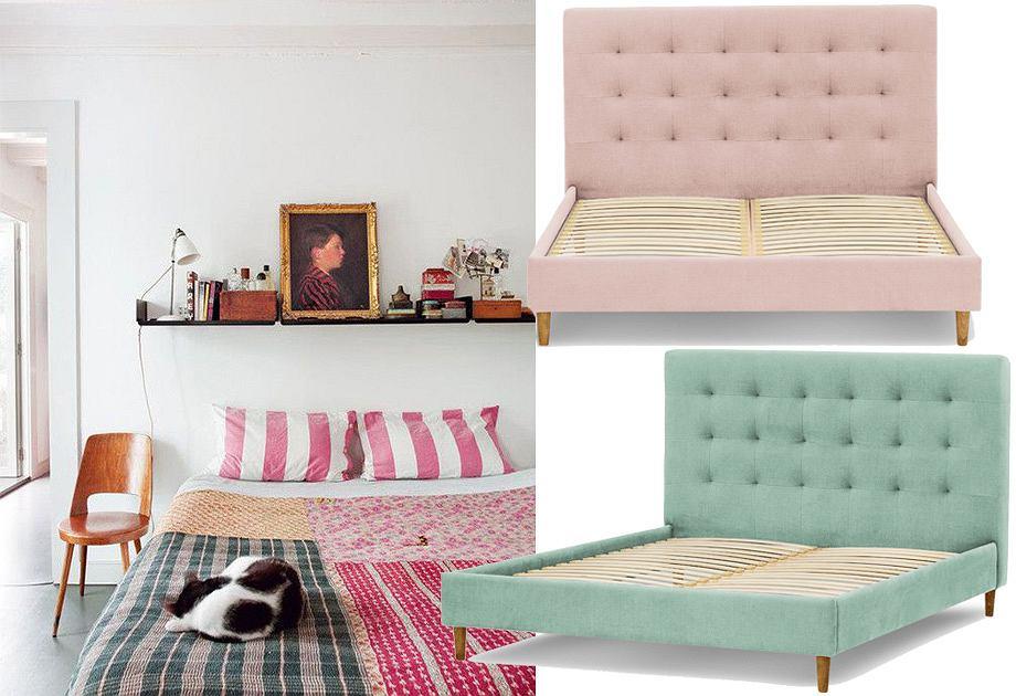 Pikowane łóżko w stylu retro