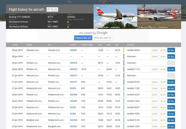 Historia lotów boeinga 777 linii Nordwind