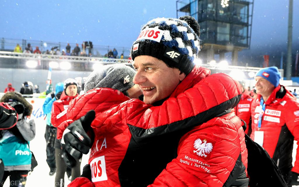 Adam Małysz i Stefan Horngacher podczas Mistrzostw Świata w narciarstwie klasycznym. Seefeld, Austria, 1 marca 2019