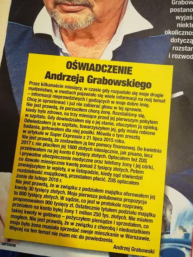 Andrzej Grabowski wydał oświadczenie na temat byłej żony