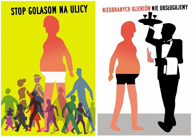Plakaty zakazujące nieodpowiedniego stroju w Sopocie