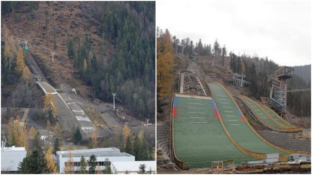 Przebudowa Średniej Krokwi. Po lewej stan na listopad 2019, a po prawej na listopad 2020 roku