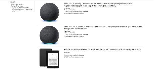 Oferta urządzeń od Amazon na polskim amazon.pl