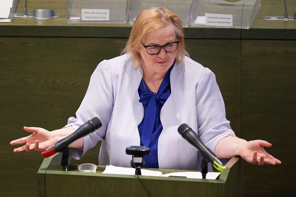 Obecna Pierwsza SN najwyższego Małgorzata Manowska podczas Zgromadzenia Ogólnego Sędziów Sądu Najwyższego. Warszawa, 23 maja 2020