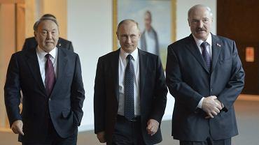 Prezydenci: Kazachstanu Nursułtan Nazarbajew, Rosji Władimir Putin i Białorusi Aleksander Łukaszenko