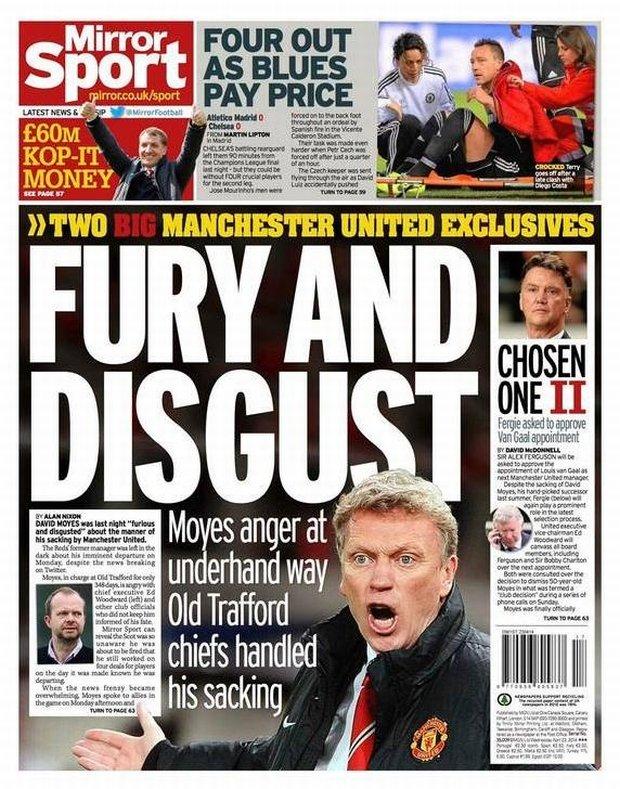 Wściekłość i niesmak - David Moyes i strona sportowa 'Daily Mirror'