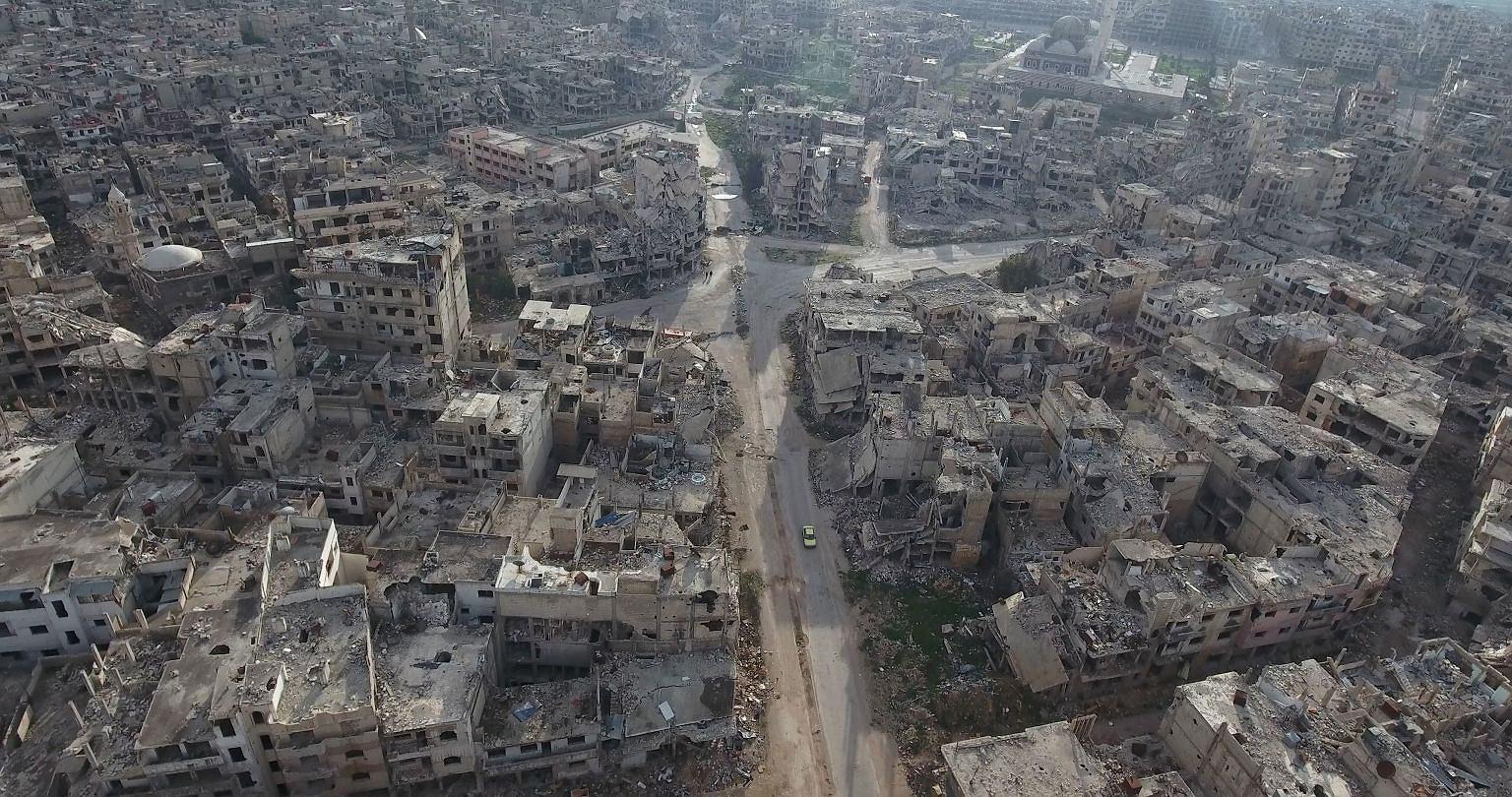 Zniszczone miasto Homs