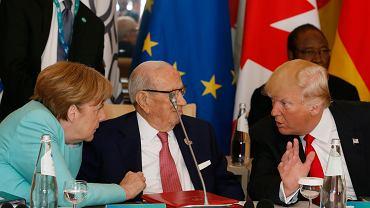 Angela Merkel i Donald Trump podczas szczytu G7