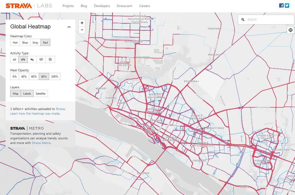 Gdzie Plock Biega Jezdzi Rowerem Mapa Aktywnego Miasta Wedlug
