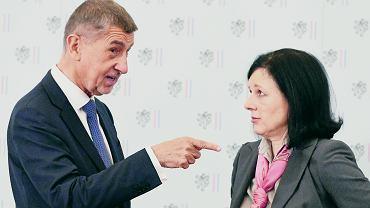 Andrej Babisz z nową czeską komisarz UE Verą Jourovą.