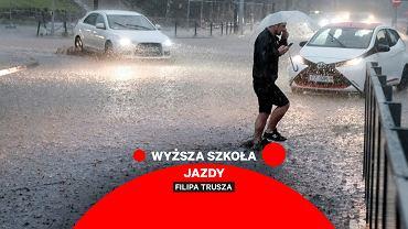 Deszcz, wyższa szkoła jazdy