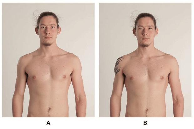 Jedno z przerobionych zdjęć użytych w badaniu 'Tattooed men: Healthy bad boys and good-looking competitors'