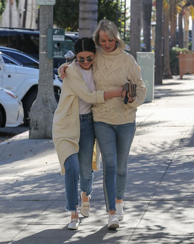Friday, December 28, 2018 - Selena Gomez got out to Long Beach for some time with a friend.  The star wore jeans and a long comfy jacket over a t-shirt, sharing a holiday hug while taking in some sunshine and fresh air.  Selena has been focusing on her health and recovery, not on ex-Justin Bieber who has moved on with new wife, Hailey Baldwin.  Juliano/X17online.com