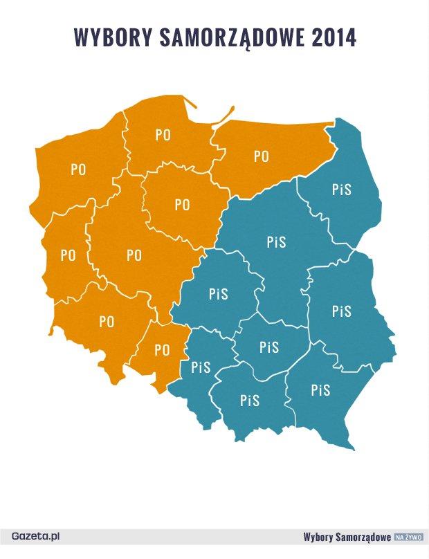 Pierwsze wyniki sondażowe w wyborach 2014 (z 16 listopada)