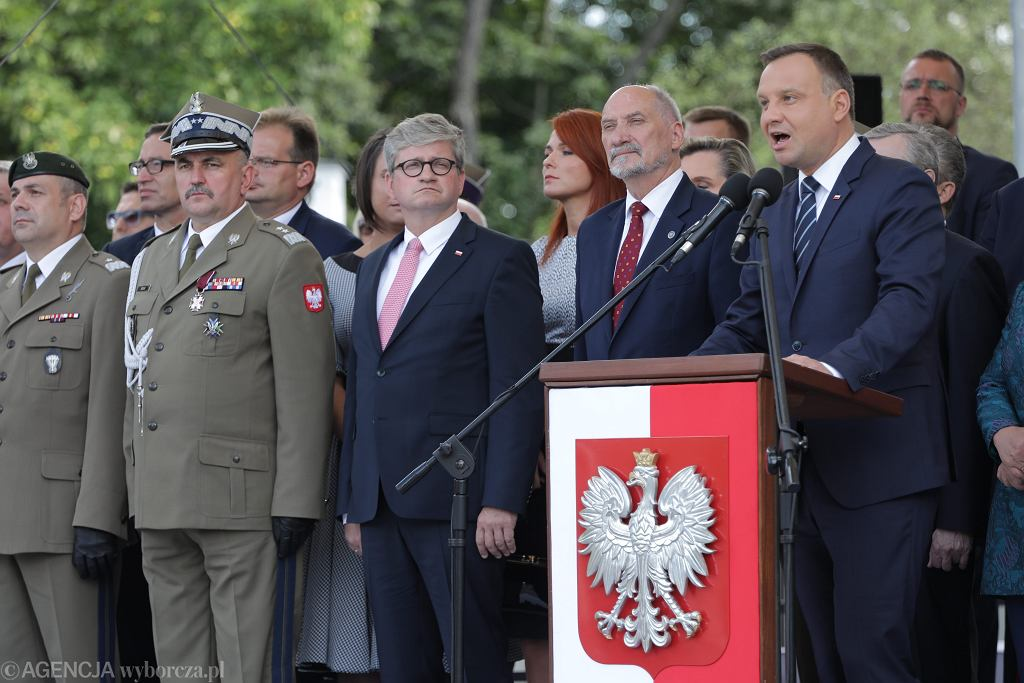 Prezydent Andrzej Duda przemawia podczas Święta Wojska Polskiego