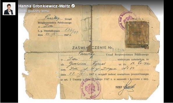 Hanna Gronkiewicz - Waltz o Żołnierzach Wyklętych: 'Mój ojciec był jednym z nich'