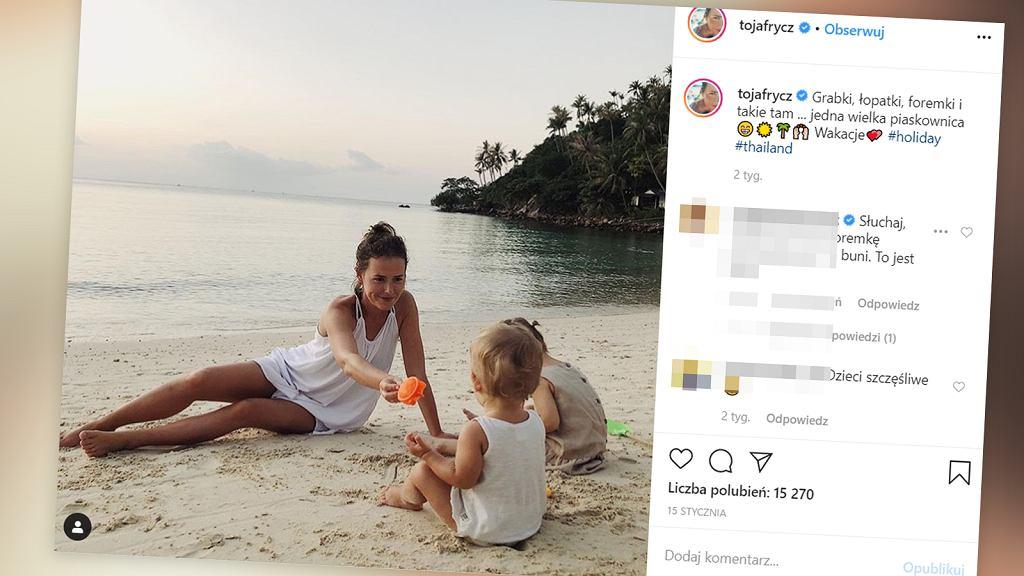 Olga Frycz z córką w Azji