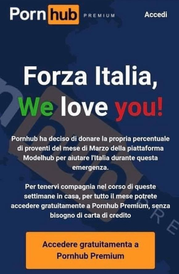 Pornhub oferuje Włochom konta premium na czas kwarantanny