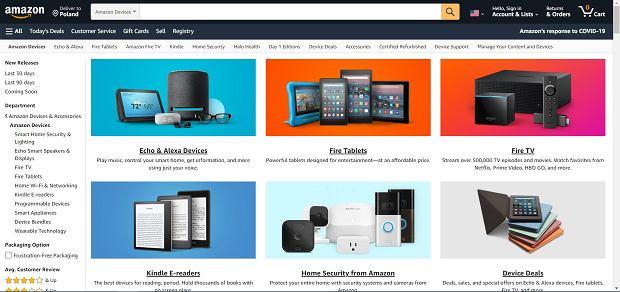 Oferta urządzeń od Amazon na amerykańskim amazon.com