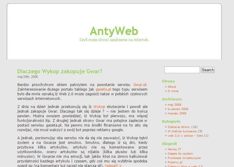 Pierwsza wersja strony AntyWeb
