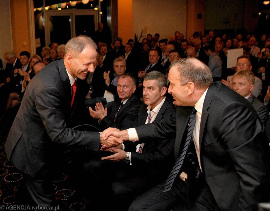 Jacek Protasiewicz i Grzegorz Schetyna podczas wyborczego zjazdu PO w Karpaczu