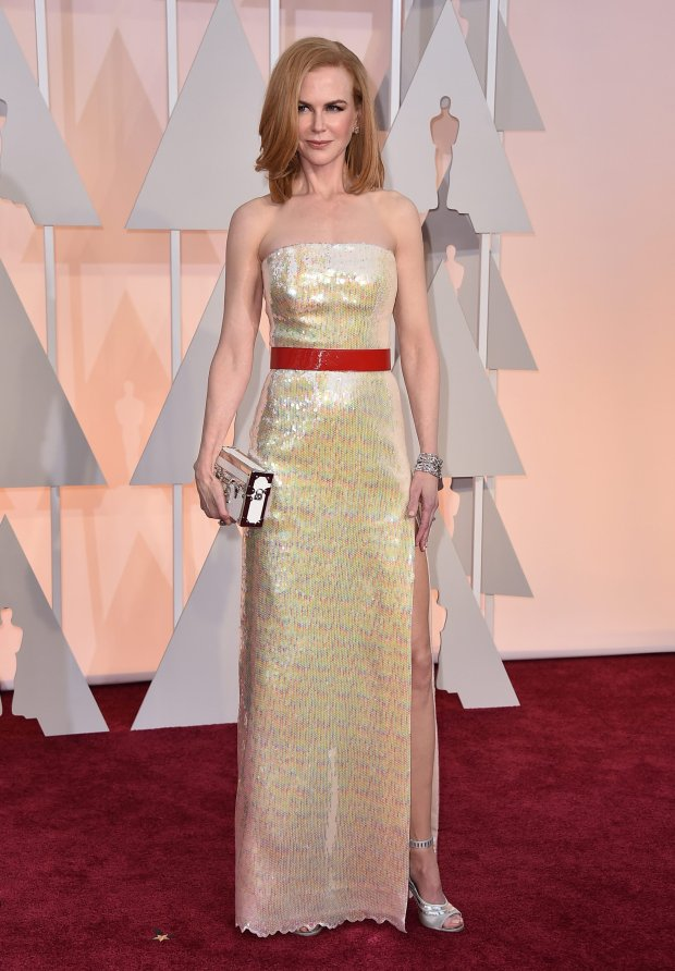 Nicole Kidman arrives at the Oscars on Sunday, Feb. 22, 2015, at the Dolby Theatre in Los Angeles. (Photo by Jordan Strauss/Invision/AP)