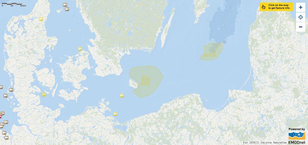Mapa zatopionej amunicji na Bałtyku.