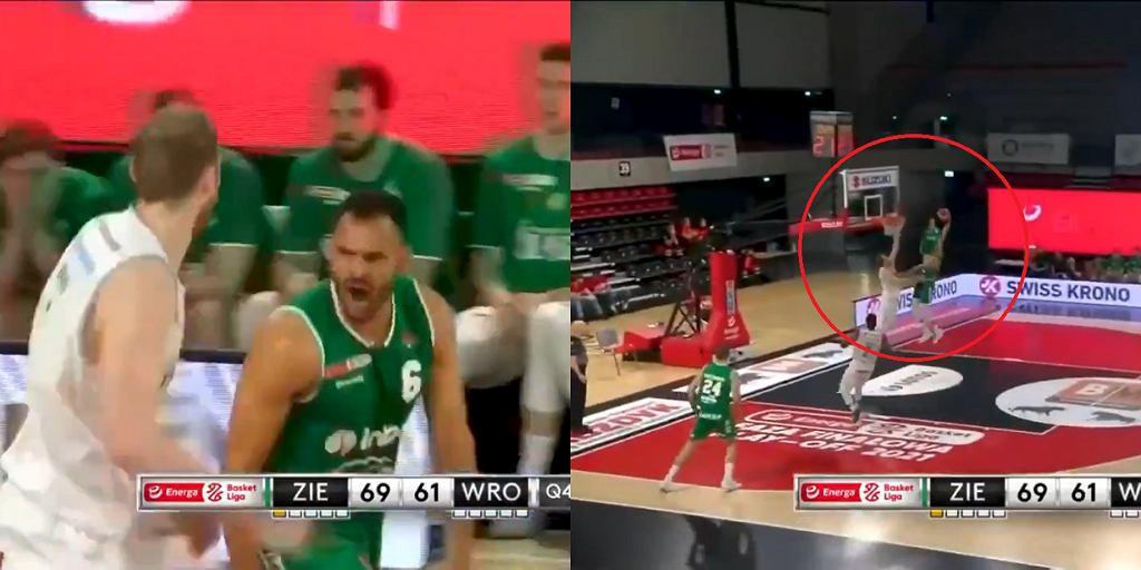 Wsad Davida Brembley'ego (Zielona Góra) w meczu ze Śląskiem Wrocław