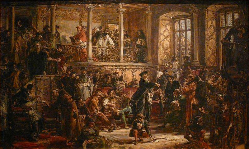 Jan Matejko, obraz Złoty wiek literatury w W.XVI, z cyklu 'Dzieje Cywilizacji w Polsce'