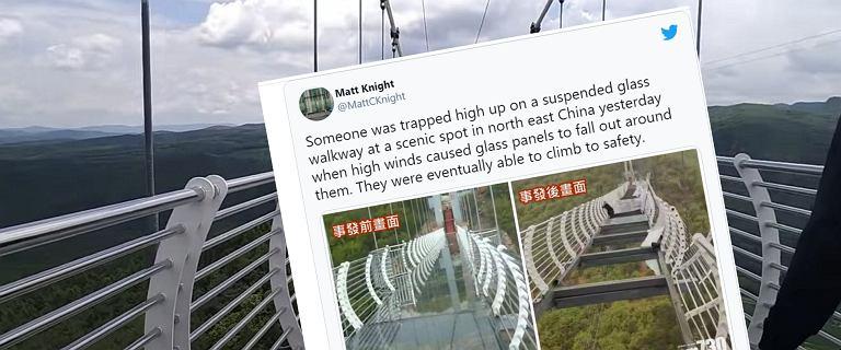 Turysta na pękniętym moście. W ostatniej chwili złapał się barierki