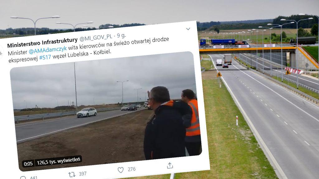 Minister infrastruktury Andrzej Adamczyk powitał kierowców na drodze S17