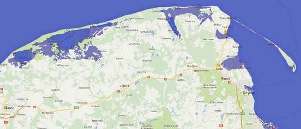 Wizualizacja, jak będzie wyglądać polskie wybrzeże w 2100 roku, gdy podniesie się poziom mórz