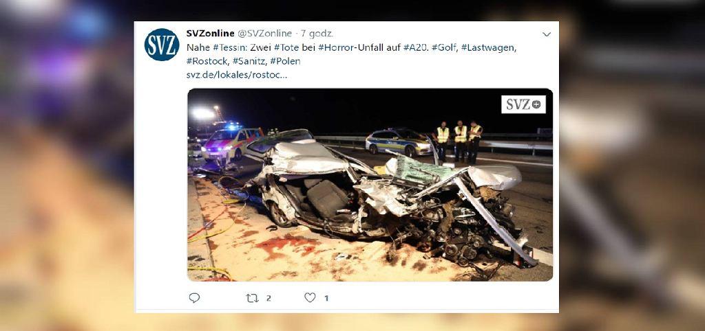 Wypadek na autostradzie A20 w Niemczech. Nie żyje dwóch Polaków