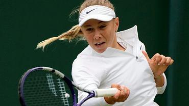 Amanda Anisimova podczas meczu z Magdą Linette na Wimbledonie, 30 czerwca 2021 r.