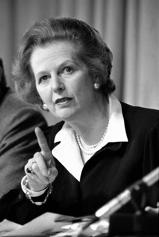"FILE - In this May 31, 1983 file photo, Britain's Prime Minister Margaret Thatcher raises her finger as she makes a point during a Conservative Party news conference in London. Ex-spokesman Tim Bell says that Thatcher has died. She was 87. Bell said the woman known to friends and foes as ""the Iron Lady"" passed away Monday morning, April 8, 2013. (AP Photo/File)  SLOWA KLUCZOWE: Close Up Looking Away Communication Authority"