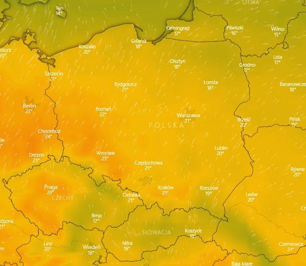 Prognoza windy.com na weekend 12-13 października. Powrócą letnie temperatury