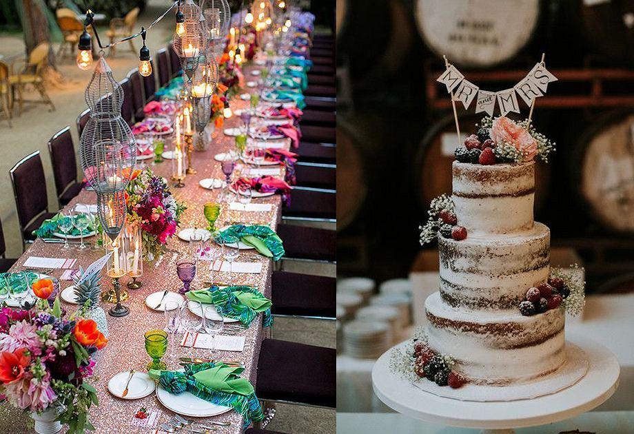 Ogród w stylu boho / wesele w stylu boho - dekoracja stołu
