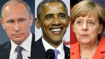 Władimir Putin, Barack Obama, Angela Merkel