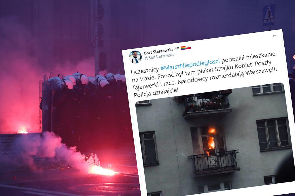 Podpalono mieszkanie na trasie Marszu Niepodległości
