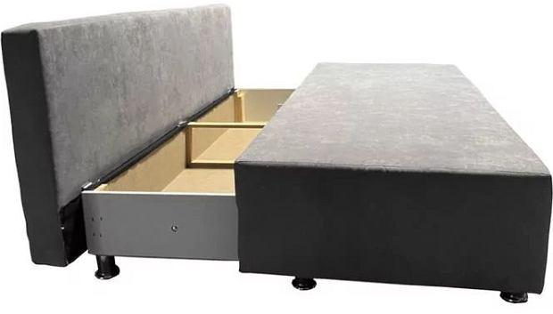 Sofa z pojemnikiem na pościel i powierzchnię spania o wymiarach 142 x 194 cm