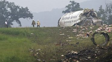 Wrak samolot UPC cargo, który rozbił się niedaleko lotniska w Birmingham w stanie Alabama