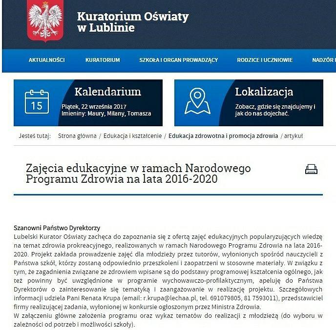 Komunikat na stronie kuratorium w Lublinie