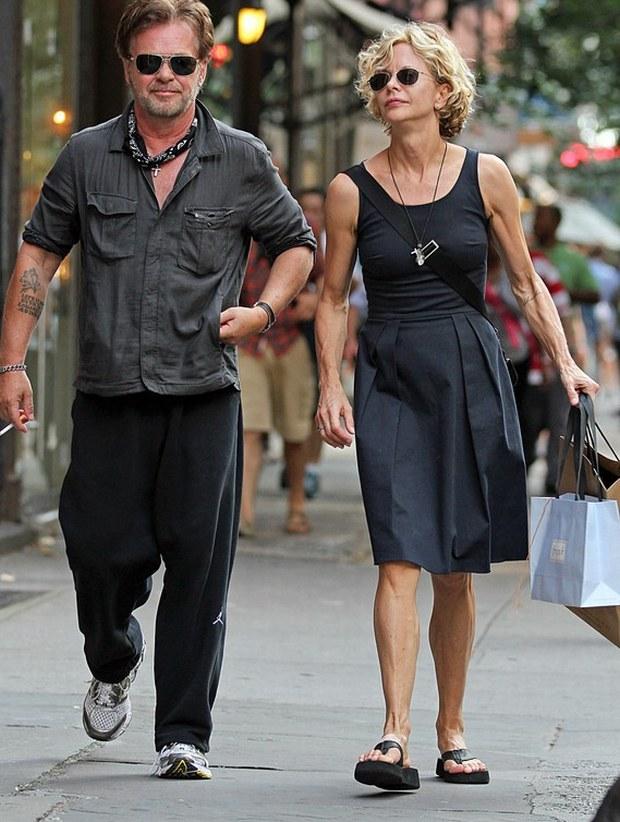 Meg Ryan and boyfriend John Mellencamp seen walking together around SoHo, in New York City.  Pictured: Meg Ryan and John Mellencamp